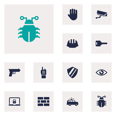 Set Of 12 Security Icons Set.Collection Of Hand , Walkie-Talkie, Hardhat Elements.