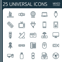 Gadget Icons Set. Collection Of Notebook, Broadcast, Personal Computer And Other Elements. Also Includes Symbols Such As Slide, Photocopy, Device.