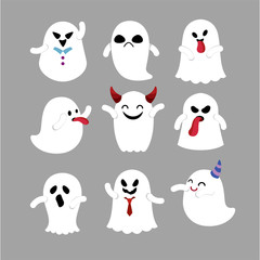 Vector set of ghost for halloween