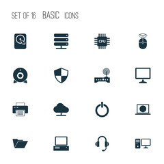 Digital Icons Set. Collection Of Tree, Defense, Personal Computer And Other Elements. Also Includes Symbols Such As Machine, Folder, Cpu.