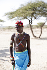 Portrait of Samburu tribesman. Kenya, Africa.