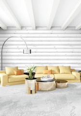 Minimal bedroom Interior design wood wall, yellow sofa and copyspace into an empty frame. 3D Rendering. 3D illustration