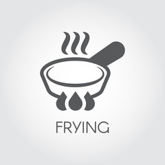 Icon of frying pan with steam spires on hob. Label in linear style for culinary design needs - sticker, printed materials, pictogram for sites, applications and other projects. Vector illustration