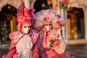 Women in carnival costume,Venice, Veneto, Italy, Europe