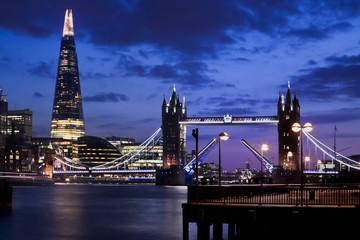 tower bridge up at night