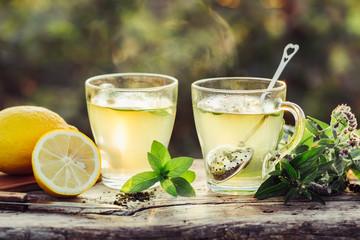 Hot tea with lemon and fresh mint.