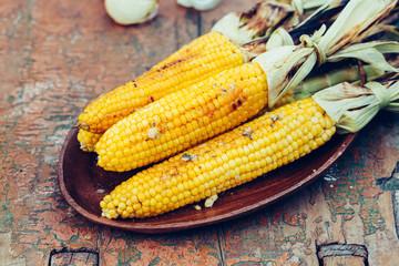 Baked sweet corn cobs