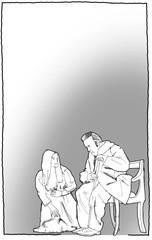 SW, Zeichnung, Drama, Theater, alter Mann, Tochter