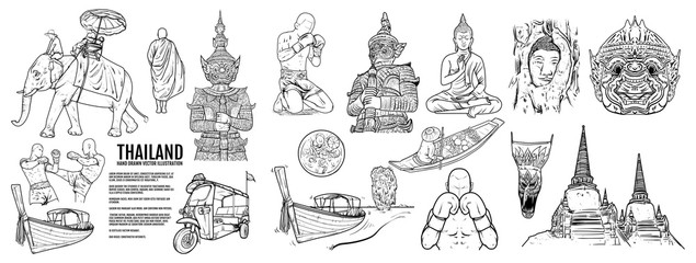 Thailand Travel Landmarks set, Hand draw Vector Illustration. Amazing thailand