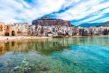 Aluminium Prints Palermo View of cefalu, town on the sea in Sicily, Italy