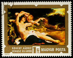 """Painting """"Venus and Cupid"""" by Karoly Brocky on postage stamp"""