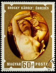 """Painting """"Awakening"""" by Karoly Brocky on postage stamp"""