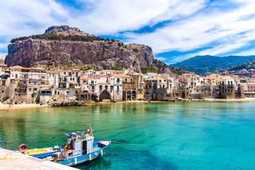 Wall Murals Palermo View of cefalu, town on the sea in Sicily, Italy
