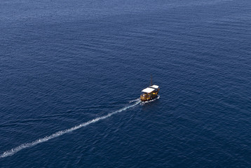 High Angle View Of Boat At Adriatic Sea