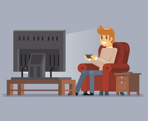 Young Man Watching TV Playing Game Sit Armchair Cartoon Character Flat Design Vector Illustration