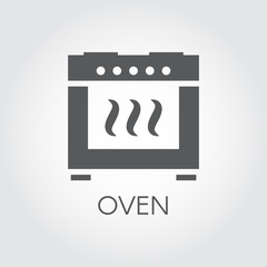 Flat icon of oven. Cooking concept. Label for kitchen interior design themes, sticker, books, pictogram for sites, apps and other projects. Vector illustration