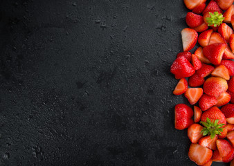 Portion of Chopped Strawberries on a slate slab