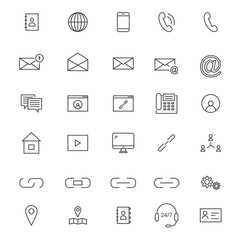 30 Line Contact Icons