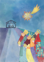 Christmas nativity scene. Card with Child Jesus, three wise men  and star of Bethlehem.Watercolor