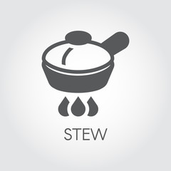 Food frying pan on hob flat icon. Cooking stew concept. Kitchenware symbol for culinary sites, books, mobile applications and other projects. Vector illustration