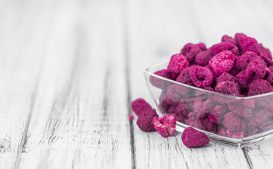 Portion of Raspberries (dried), selective focus