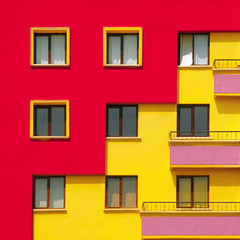 Vibrant architecture of a apartment building