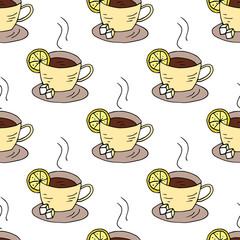 Seamless pattern with cups of tea and lemon.