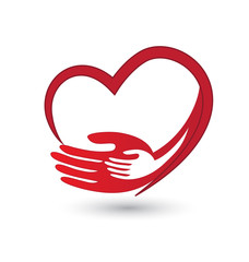 Helping caring hands with heart icon logo