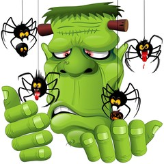 Frankenstein Spiders Pets Cartoon