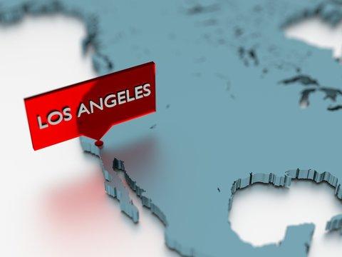 3d world map sticker - City of Los Angeles