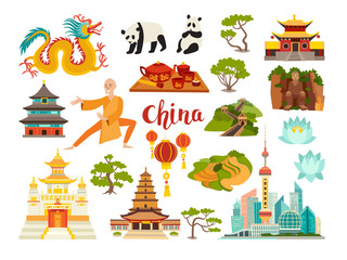 China landmarks vector icons collection. Chinese travel attraction. China landmarks: Shanghai cityscape, Temple and dragon. Shaolin monk, pandas and rice fields