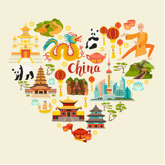 China landmarks vector icons set. Illustrated travel collection. Chinese travel attraction, isolated on white background. Heart silhouette, travel design