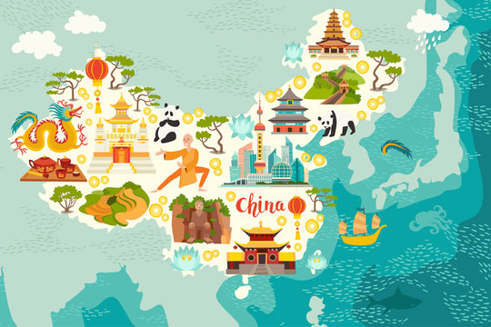 Illustrated map of China. Vector illustration for kid and children. Chinese travel landmarks. Asian abstract map