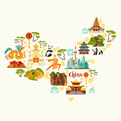 Fototapete - China landmarks, map silhouette. Hand drawn vector illustration for kid and children. Chinese travel attraction