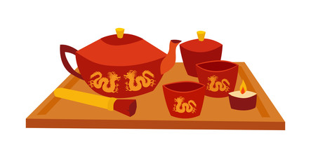 Tea teremony tool vector card. Traditional chinese teapot and cups. Flat cartoon vector illustration, isolated on white background