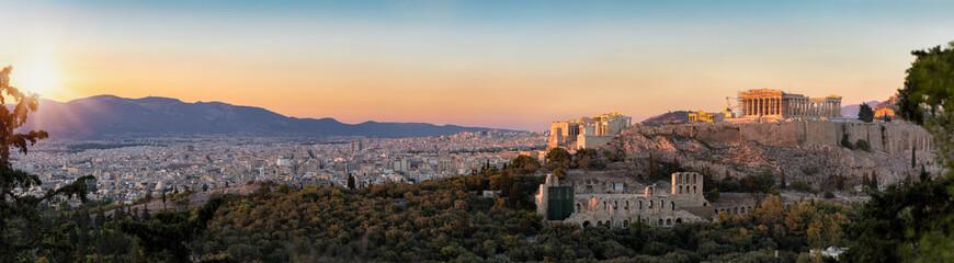 Fototapete - Panorama von der Akropolis und der Skyline von Athen bei Sonnenuntergang, Griechenland