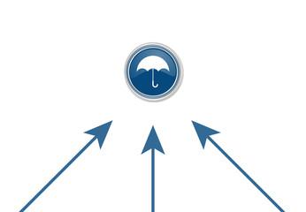 Pfeile zeigen auf Button - Regenschirm