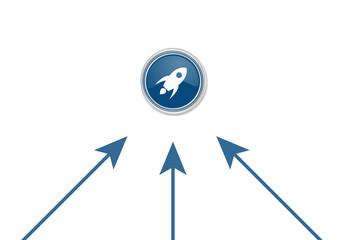 Pfeile zeigen auf Button - Rakete fliegend