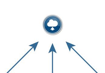 Pfeile zeigen auf Button - Cloud-Hochladen-Symbol