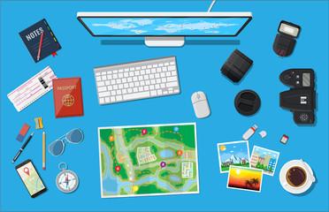 Traveler planning trip.