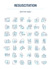 Vector graphic set. Isolated Icons in flat, contour, thin, outline, minimal and linear design. First aid to man. Ambulance. Procedure, equipment. Support patient life.Concept illustration.Sign,symbol.