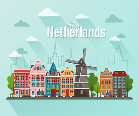 Netherlands vector illustration.