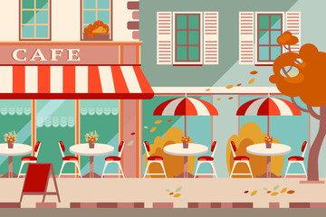 Modern flat vector horizontal illustration. Outdoor cafe in the