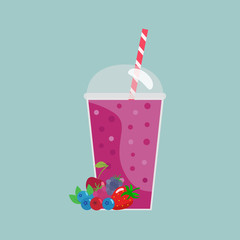 Cartoon smoothies.Berry smoothie. Organic fruit shake smoothie. Flat design. Vector illustration.