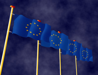 Flags of European Union on the flagpoles