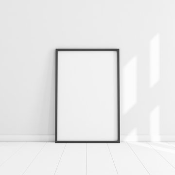White poster with black frame mockup illustration