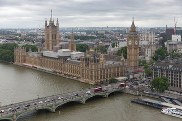 London Houses of Parliament seen from millennium wheel
