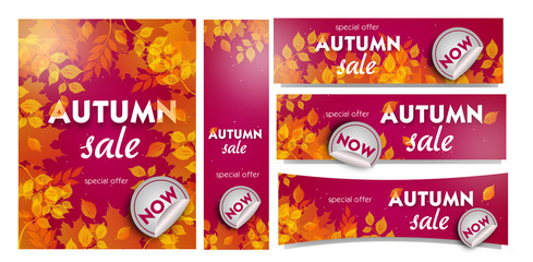Set of autumn sale banners