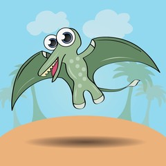 Funny cartoon style dinosaur vector illustration