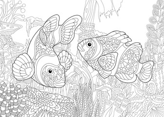 Coloring page of underwater world. Clown fish on the background of a sunken ship. Freehand sketch drawing for adult antistress coloring book in zentangle style.